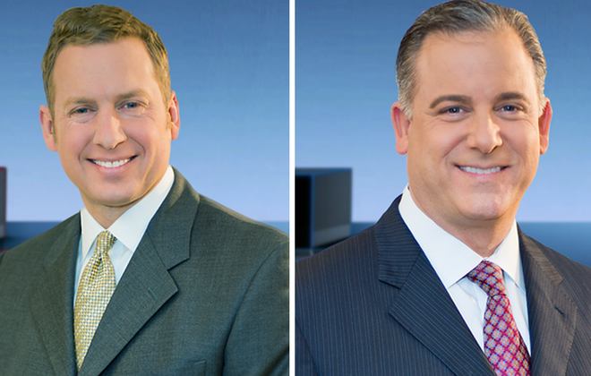 The fortunes of WGRZ anchors Adam Benigni, left, and Scott Levin were an ongoing drama during 2017. (via WGRZ)