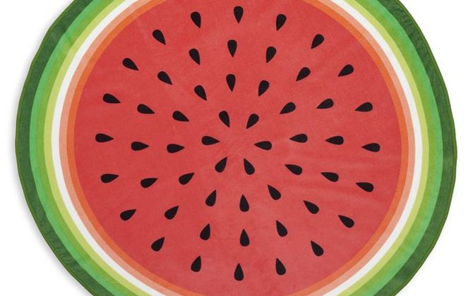 Round watermelon beach towel is from the Celebrate Summer Together collection at Kohl's. It measures 55 inches in diameter.
