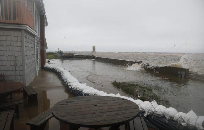 Olcott Yacht Club put  sandbags around the marina because of  flooding in Olcott on May 25, 2017. (John Hickey/Buffalo News)