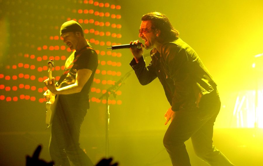 Bono, right, gets into the vocals during U2's show at HSBC Arena in 2005. (Robert Kirkham/Buffalo News file photo)