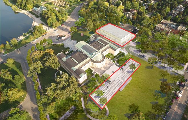 A rendering of the Albright-Knox Art Gallery's planned expansion project shows the elimination of its current parking lot and the construction of two new buildings housing 23,000 square feet of gallery space. (Photo courtesy of the Albright-Knox)