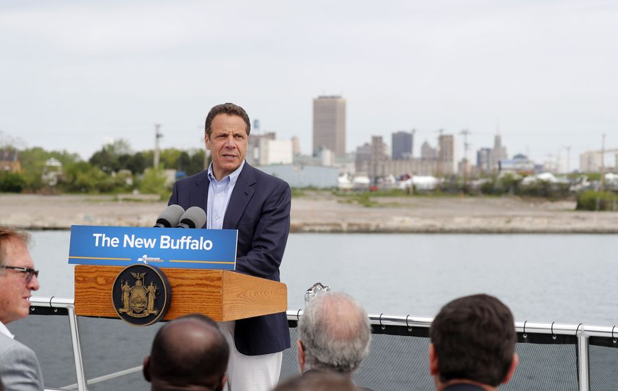 Gov. Andrew Cuomo speaks to dignitaries on a tour of the Buffalo waterfront Wednesday, May 24, 2017.         (Mark Mulville/Buffalo News)