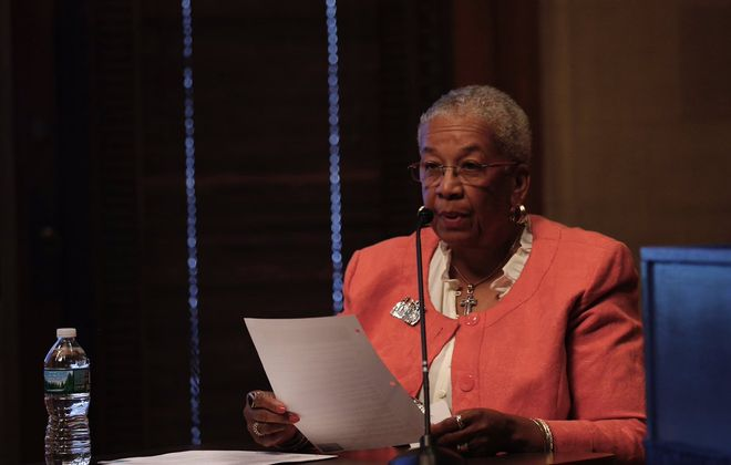 Buffalo School Board President Barbara Nevergold testifies at a hearing June 22, 2017, in Albany. The hearing will determine if Carl Paladino should be removed from his elected position as a member of the board.  (Mike Groll/Special to The News)