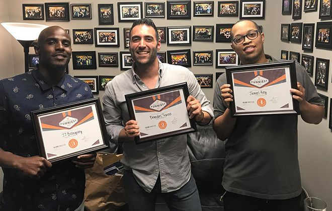 "Jameel Key, right, won the annual ""Buffalo's Funniest Person"" contest at Helium Comedy Club. JJ Billingsley, left, and Brandon Trusso were named runners-up. (Courtesy of Helium Comedy Club)"