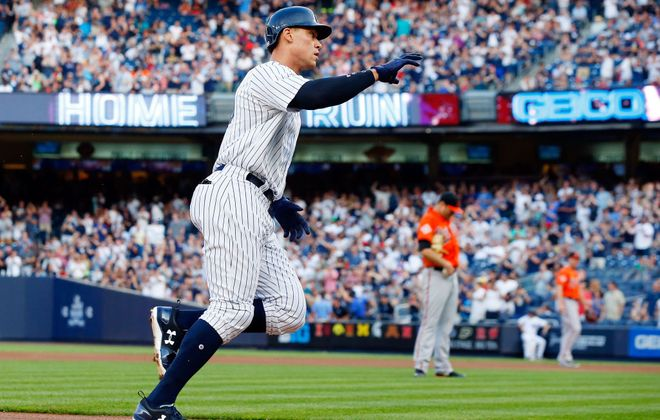 Aaron Judge runs the bases after his first inning home run against the Baltimore Orioles at Yankee Stadium on June 10, 2017 (Getty Images)