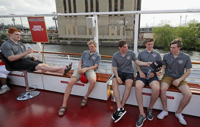 From left, Owen Tippett, Casey Mittelstadt, Nolan Patrick, Michael Rasmussen and Cody Glass are among the draft's top prospects. (Getty Images)