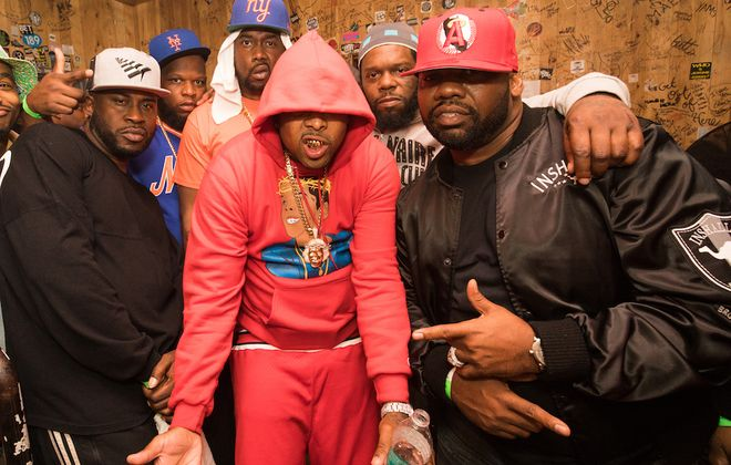 The Griselda Records crew backstage at New York's Webster Hall. Conway is standing at rear, center. Westside Gunn is in the foreground.  (Photo courtesy of Shady Records)