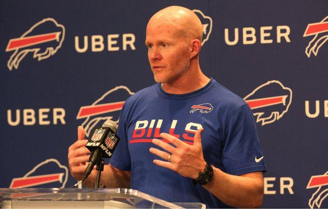 Bills coach Sean McDermott meets with the media. (James P. McCoy/News file photo)