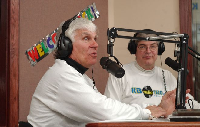 Danny Neaverth, left, with Tom Donahue, who both worked at WKBW radio when this photo was taken in 2003, will be back together on Monday mornings on WECK. (Sharon Cantillon/News file photo)