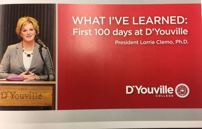 Cover of brochure chronicling new D'Youville College president's first 100 days on campus