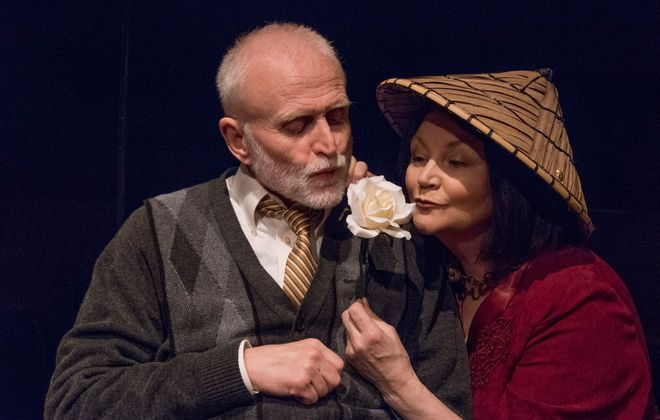 """David Oliver as David Bliss and Josephine Hogan as Judith Bliss in """"Hay Fever"""" at the Irish Classical Theatre. ( Photo iby Gene Witkowski)"""