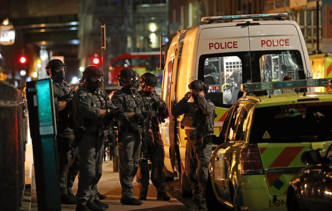 Counter-terrorism special forces are seen at London Bridge on June 3, 2017, in London. Police have responded to reports of a van hitting pedestrians on London Bridge in central London.  (Getty Images)