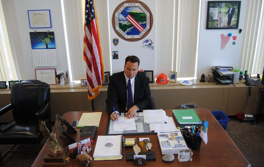 Erie County Comptroller Stefan Mychajliw in his office. (Photo provided by the Comptroller's Office)