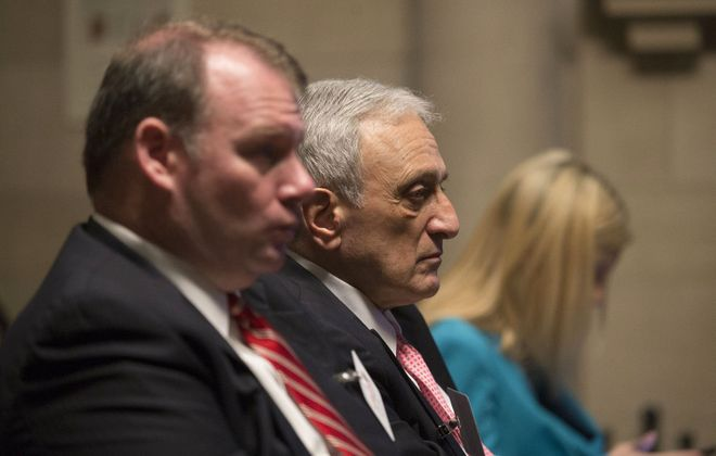Carl Paladino listens to opening arguments in his hearing before the Department of Education.  (Mike Groll/Special to The News)