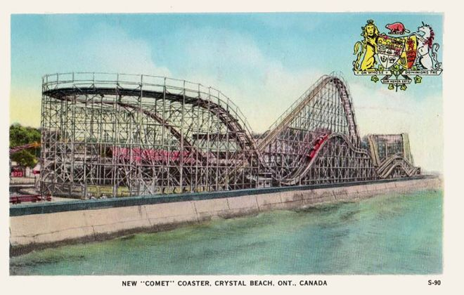 The Comet roller coaster thrilled Americans and Canadians alike until Crystal Beach Amusement Park closed in September 1989. (Photo courtesy of the Amusement Park Historical Association of Niagara; learn more at www.aphan.ca)