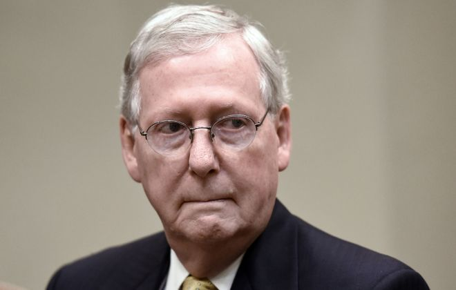 Senate Majority Leader Mitch McConnell listens during a meeting with President Donald Trump on June 6, 2017, in the Roosevelt Room of the White House in Washington, D.C. (Olivier Douliery/Abaca Press/TNS)