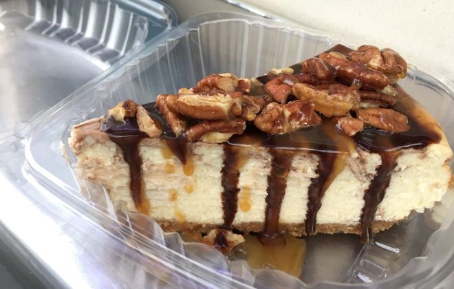 Ninja Turtle cheesecake, topped with pecans, is a top seller at Cheesecake  Guy NY. (Elizabeth Carey/Special to The News)