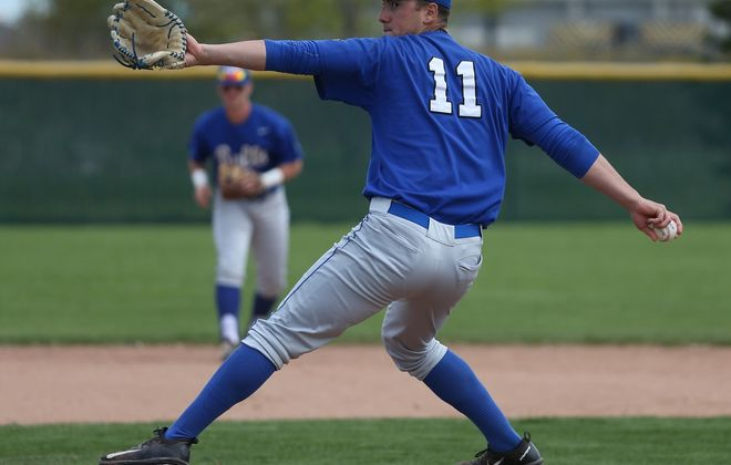 UB's Andrew White pitches in the third inning at Niagara University in Lewiston N.Y. on Tuesday, May 9, 2017.  (James P. McCoy/Buffalo News)