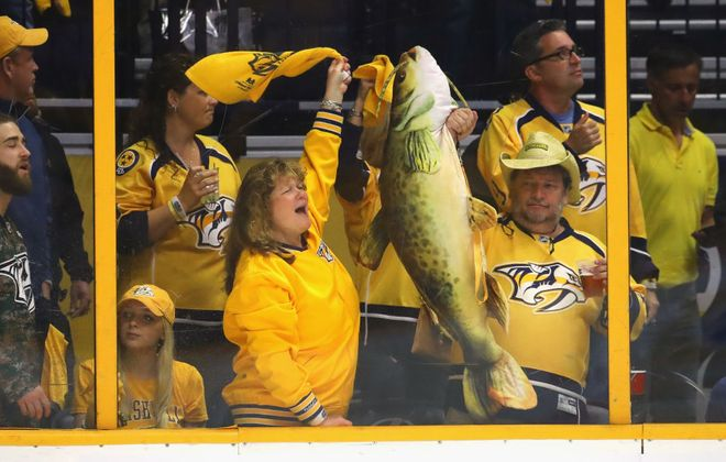 The raucous Bridgestone Arena fans will try to again spur the Predators to victory tonight (Getty Images).