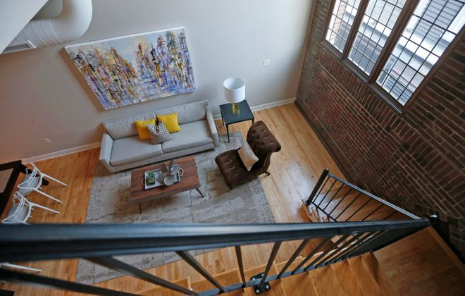 One of the loft apartments, staged for an open house in 2014. (Robert Kirkham/Buffalo News file photo)