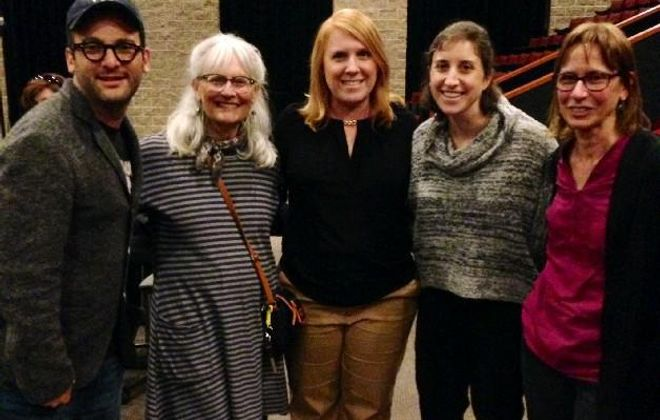 Diana Strablow (far right), a member of the Sierra Club Niagara Group, is joined by filmmaker Josh Fox; Lynda Schneekloth of Sierra Club; Kim Lemieux of Pendleton Action Team; and a Fox assistant; and Diana Strablow of Sierra Club, Niagara Group, at Starpoint High School during a visit by Fox in 2016. Strablow was honored this month by the Niagara Frontier Chapter of the Adirondack Mountain Club for her efforts to lead opposition against National Fuel's proposed Northern Access Pipeline. (Buffalo News file photo)