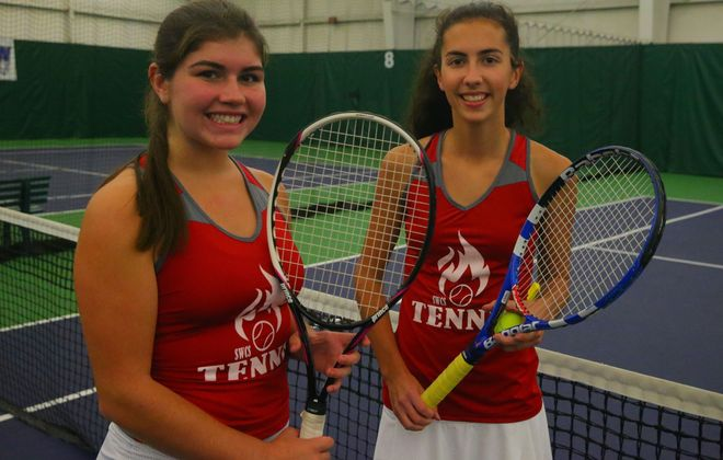 Southwestern's Olivia Persia and Mikayla Johnson took third in doubles at sectionals last year. (John Hickey/Buffalo News)