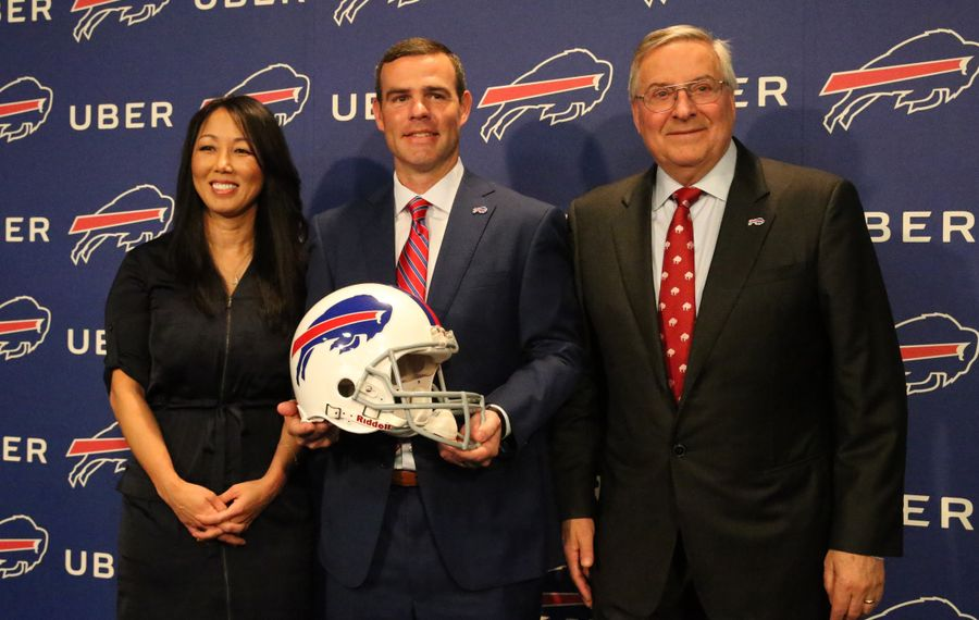 Buffalo Bills GM Brandon Beane with team owners Kim and Terry Pegula. (James P. McCoy/Buffalo News)