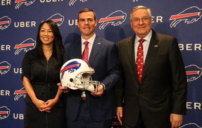 Buffalo Bills GM Brandon Beane with team owners Kim and Terry Pegula. (James P. McCoy/Buffalo News)