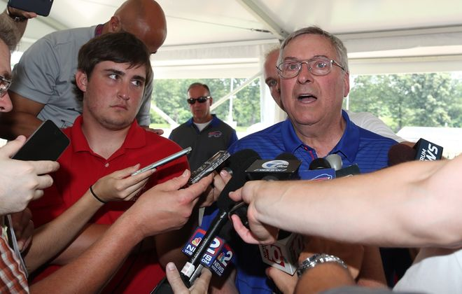 Bills owner Terry Pegula speaks to the media at Bills training camp Wednesday. (James P. McCoy/Buffalo News)
