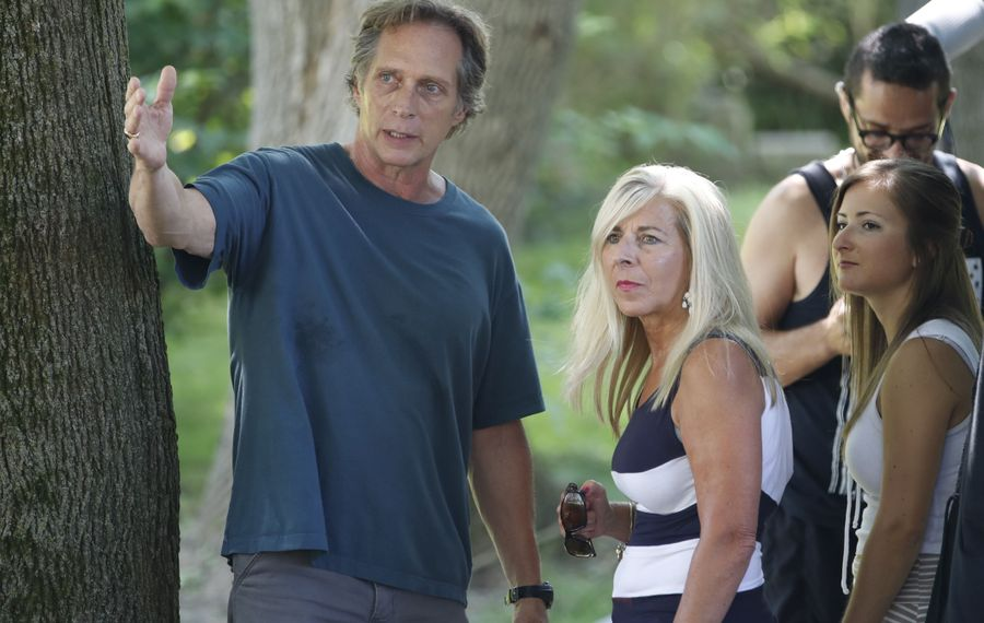 """William Fichtner talks with his friend Debbie Blask of Lancaster, on the set of """"Cold Brook."""" (Sharon Cantillon/Buffalo News file photo)"""