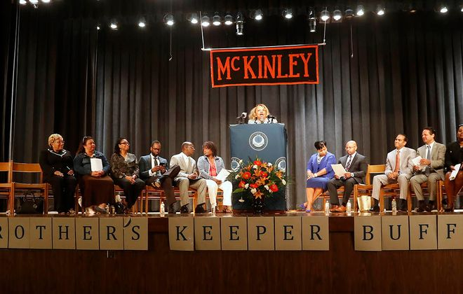 """With banners spelling out """"My Brother's Keeper Buffalo"""" at McKinley High School on Monday, the Buffalo Public Schools launched the mentoring program to put boys of color on track toward graduation and a productive future. (John Hickey/Buffalo News)"""