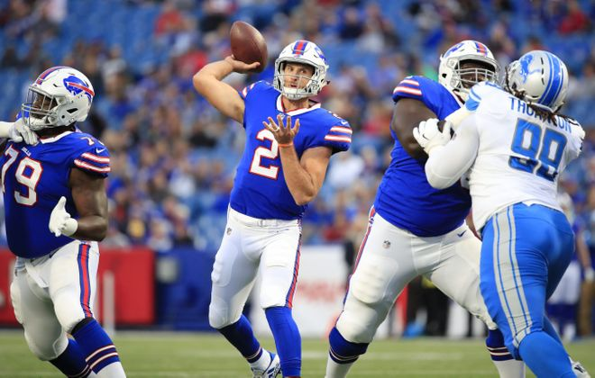Buffalo Bills Nathan Peterman throws against the Detroit Lions during first quarter action at New Era Field on Thursday, Aug. 31, 2017.(Harry Scull Jr./Buffalo News)