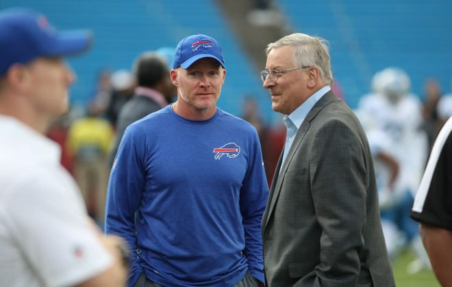 Bills coach Sean McDermott said team owner Terry Pegula has consistenly demonstrated a commitment to winning. (James P. McCoy/Buffalo News)