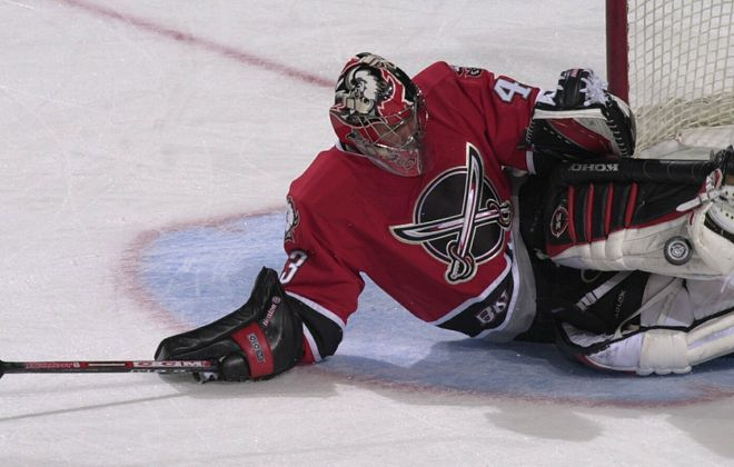 Martin Biron, who played for the Sabres from 1995-2007, will be inducted into the Rochester Americans Hall of Fame. (Harry Scull Jr./File Photo)
