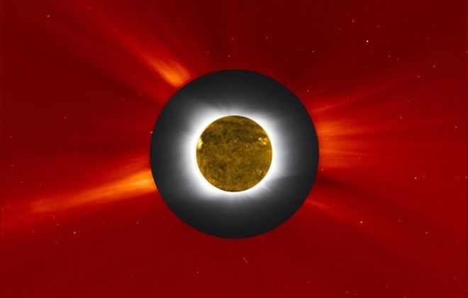 A solar eclipse photo from the Williams College Expedition to Easter Island in the South Pacific in July 2010 was embedded with an image of the Sun's outer corona taken by the Large Angle Spectrometric Coronagraph shown in red false color. (NASA image)