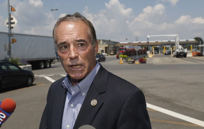 Chris Collins, R-Clarence, talks after he toured the Port of Buffalo with U.S. Customs and Border Patrol (CBP)  at Peace Bridge, in Buffalo, N.Y. on Tuesday Aug. 1, 2017.  (John Hickey/Buffalo News)