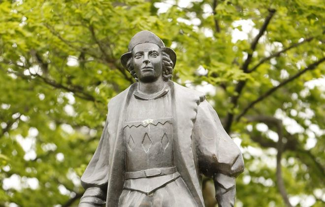 A statue of Christopher Columbus stands in Columbus Park in Buffalo. (Derek Gee/Buffalo News file photo)