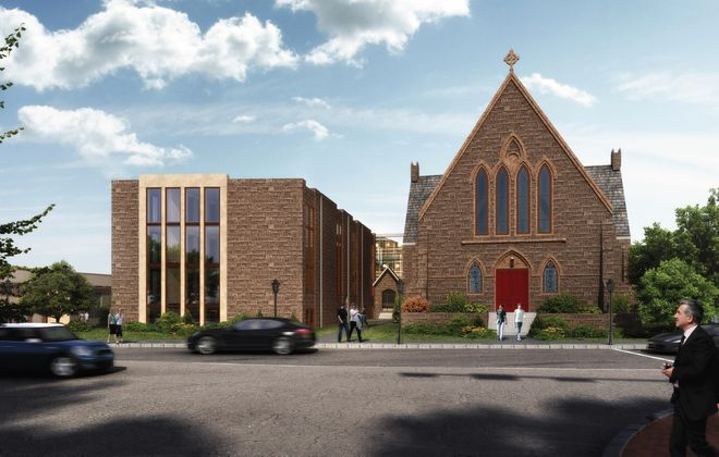 A rendering of a proposal to build senior apartments in a vacant church at Linwood Avenue and North Street.