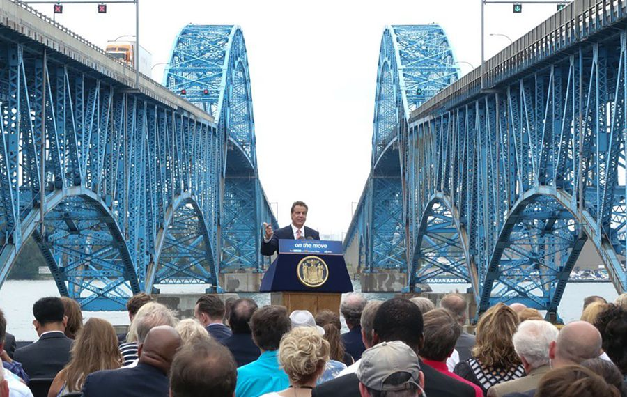 Gov. Cuomo announces that cashless toll collection is is coming to the Grand Island bridges on Aug. 22. (John Hickey/Buffalo News)