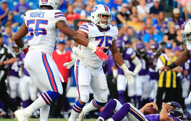 Eddie Yarbrough sacks Vikings quarterback Sam Bradford in the first quarter of the Bills' preseason game on Aug. 10, 2017. (Harry Scull Jr./News file photo)