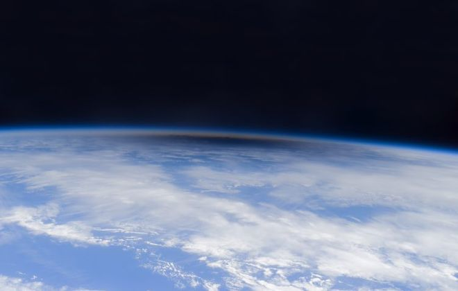 The shadow of a 2012 annular eclipse as seen from the Space Station. (NASA/Don Pettit)