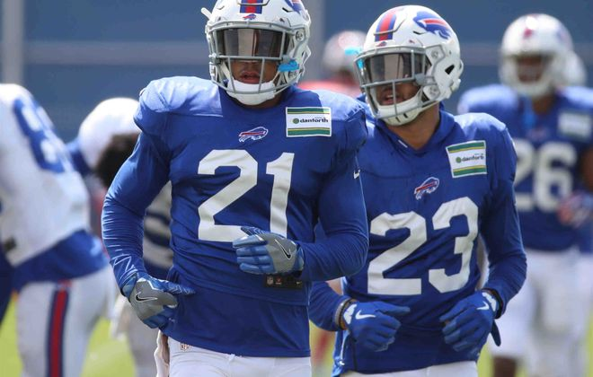 Jordan Poyer (21) will be counted on to lead the Bills' rebuilt secondary along with fellow safety Micah Hyde. (James P. McCoy/Buffalo News)