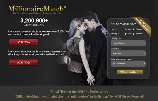 A screengrab of the MillionaireMatch.com website, where scam artists found a Western New York woman looking for a romantic relationship.