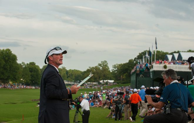 Western New York native Tim Fries, a PGA Board Member, announces on the 18th green during the final round of the 99th PGA Championship at Quail Hollow Club in Charlotte, North Carolina. (Traci Edwards/PGA of America)