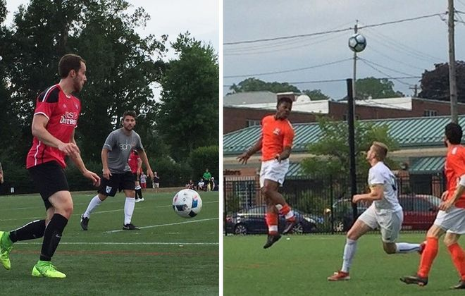 Brendan Lawler, left, and the Amherst Sharpshooters face Soho FC, while Polo Suazo, wearing orange, in mid-air, and BUSS take on Raiders. (Ben Tsujimoto/Buffalo News)