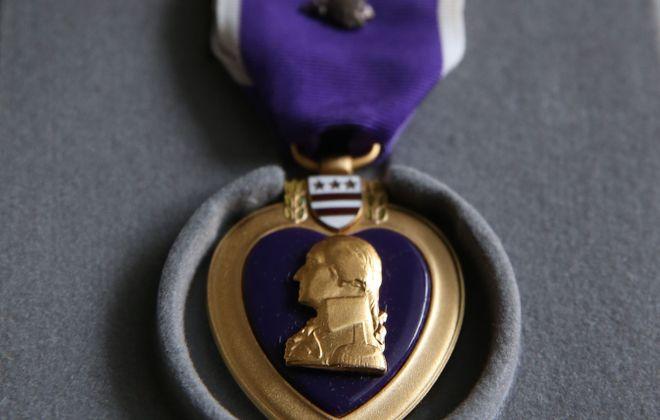 A file photo of a Purple Heart medal. (Sharon Cantillon/Buffalo News)