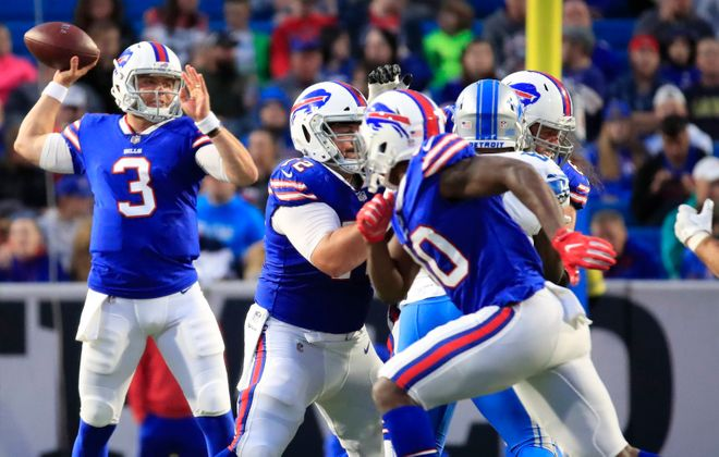 Bills quarterback Keith Wenning throws against the Lions in Thursday night's preseason finale. (Harry Scull/Buffalo News)