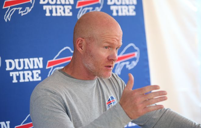 Sean McDermott talks to the press before the start of the last day of training camp at St. John Fisher College in Pittsford on Tuesday, Aug. 15, 2017.  (James P. McCoy/Buffalo News)