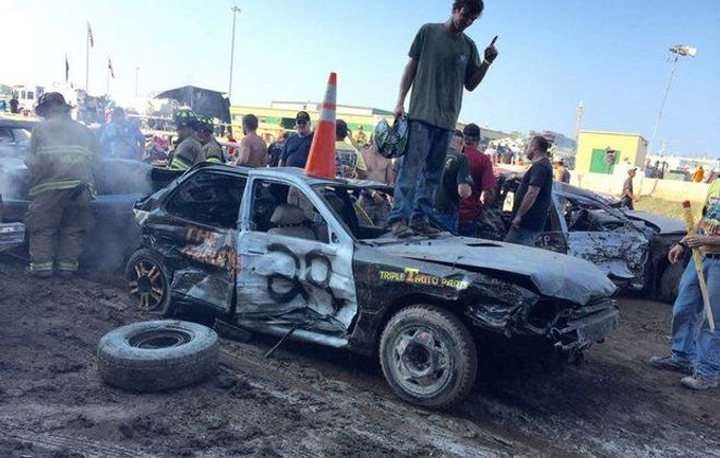Tim Haniszewski Jr., atop the Camry he rode to victory in the demolition derby state championships in 2015, at the New York State Fair. (Family photo)