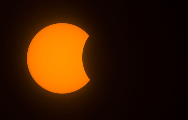 The solar eclipse from Buffalo, NY, on Aug. 21, 2017. (Derek Gee/Buffalo News)